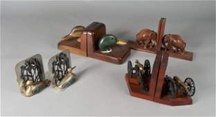 750: (4) Pair of Wood Bookends