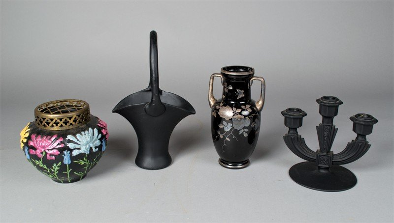4: Collection of Black Satin & Black Glass Articles