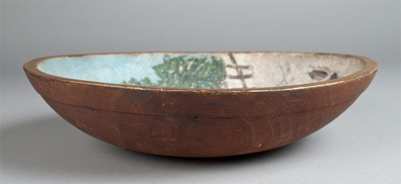 8: Hand Painted Folk Art Wooden Bowl