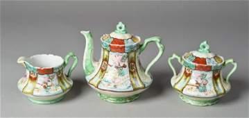 14: (3) Piece Japanese Porcelain Moriage Tea Set