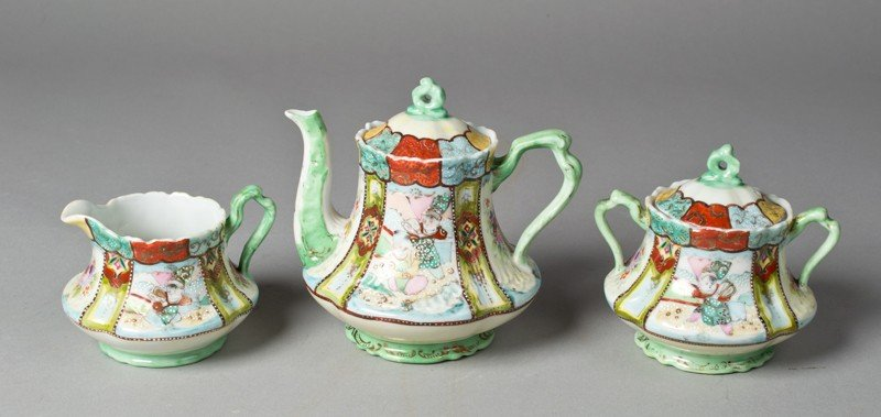 14: (3) Piece Japanese Porcelain Moriage Tea Set