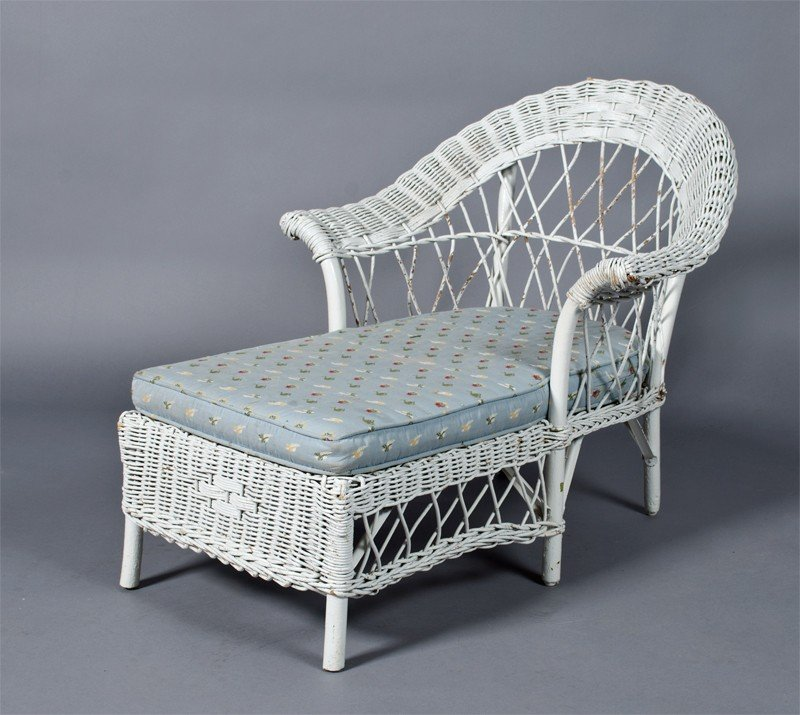 20: Antique Child's Wicker Chaise Lounge