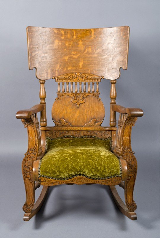 24: Antique Oak Wood Rocking Chair