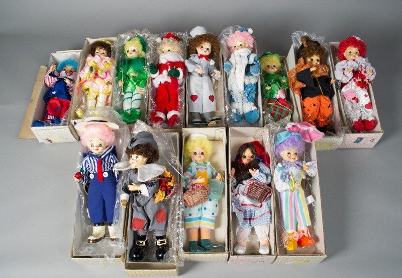 166: Grouping of (14) Brinn's Calendar Clown Dolls
