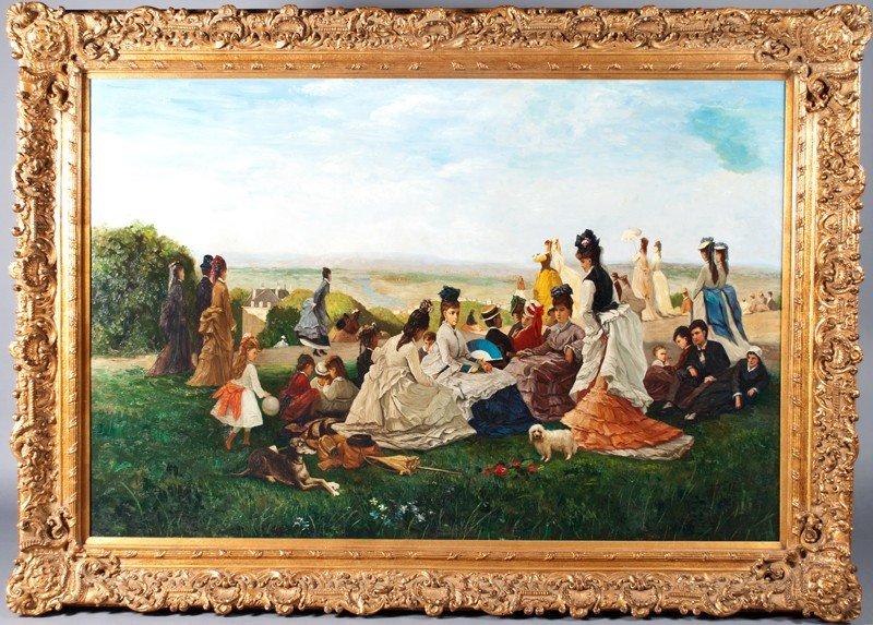 459: After Eugene Boudin, Monumental Oil on Canvas