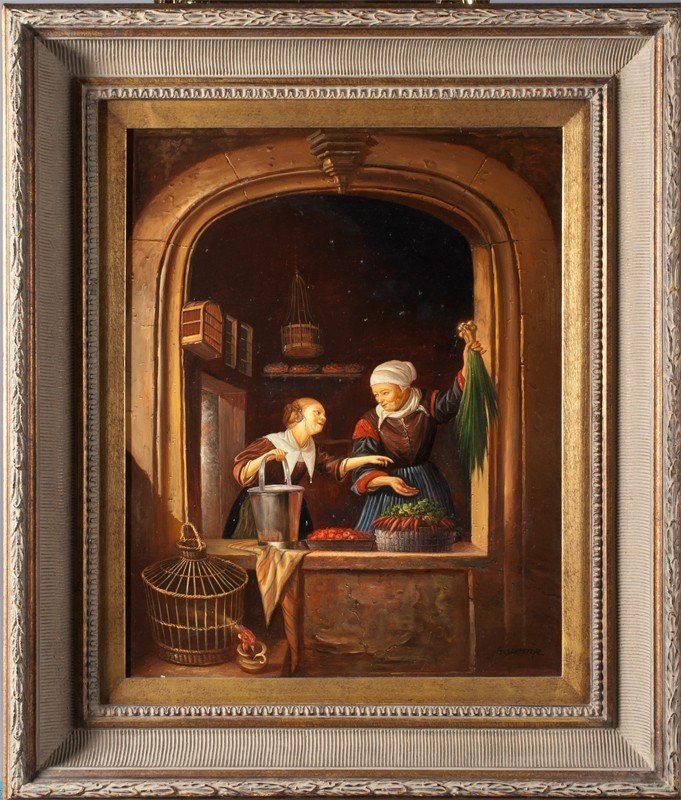 460: G. Schroter, Oil Painting on Wood Panel