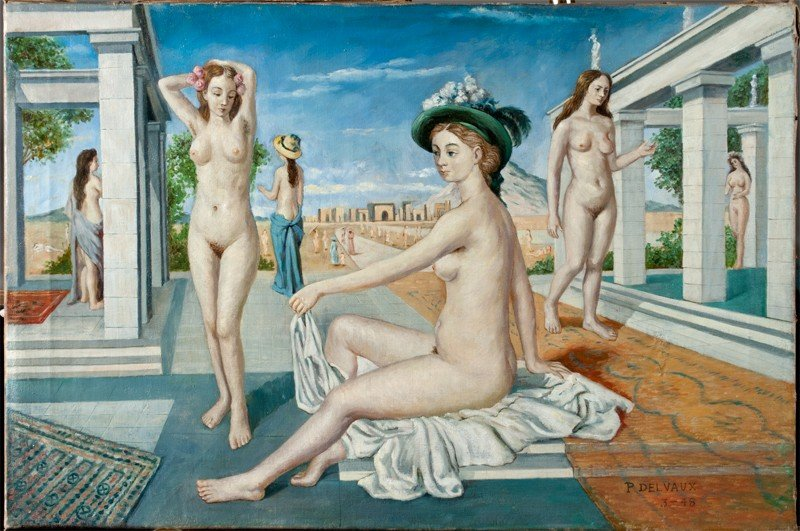 465: Signed Paul Delvaux, Oil Painting on Canvas