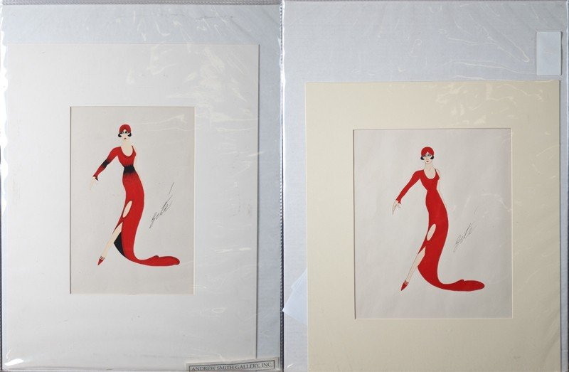 467: (2) After Erte, Gouche & Watercolor on Pa