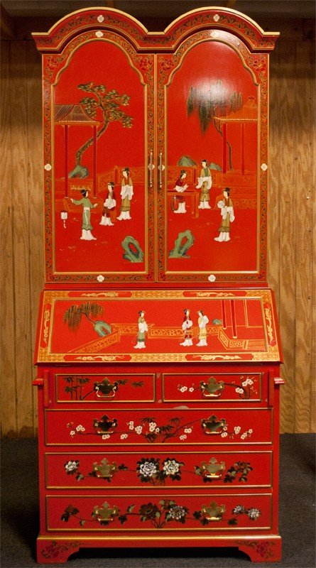 470: Chinese Red Lacquer Secretaries Desk