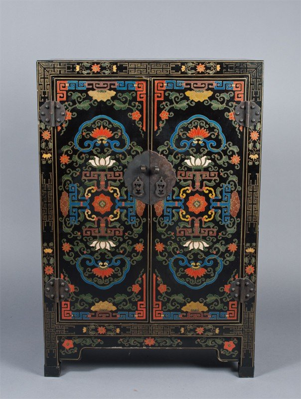 472: Chinese Multi-Color Lacquered Two Door Cabinet