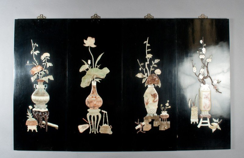 475: (4) Chinese Inlaid Hanging Wall Plaques