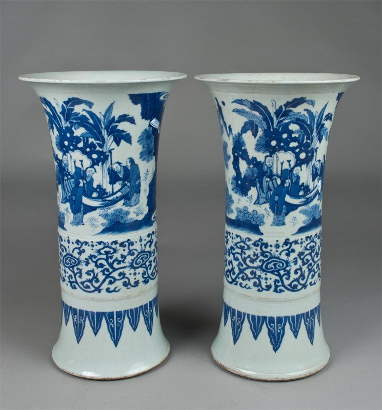 477: Pr. Chinese Blue & White Gu Porcelain Vases