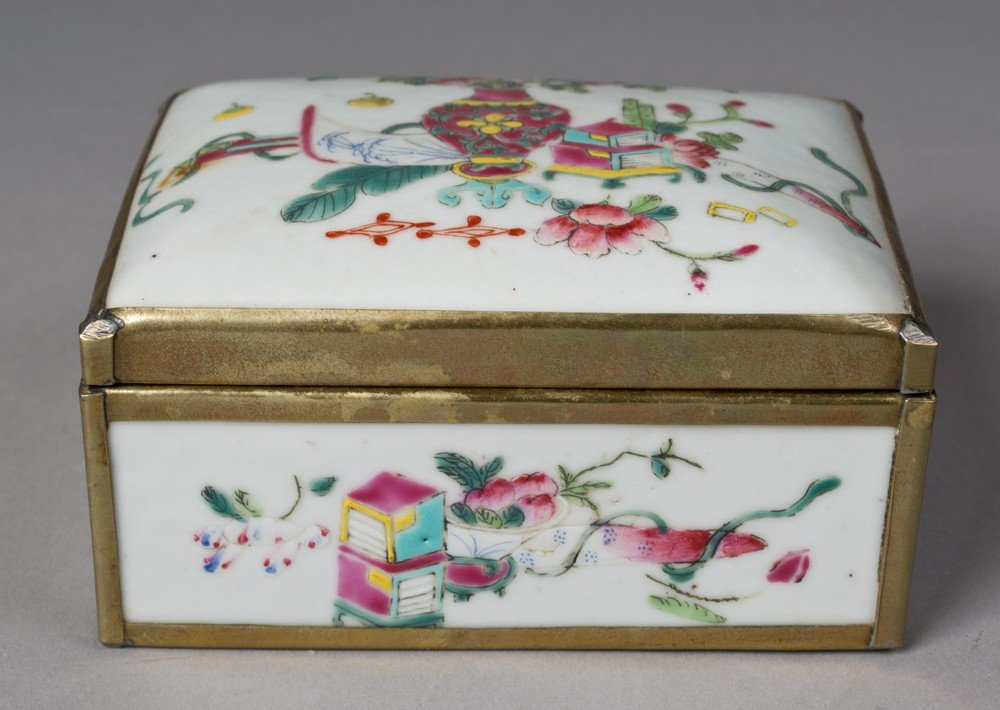 16: Chinese Porcelain and Brass Mounted Box
