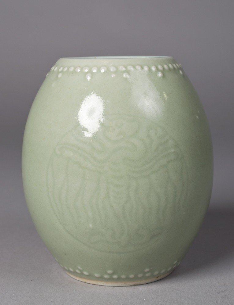 577: Chinese Drum Form Celadon Vase