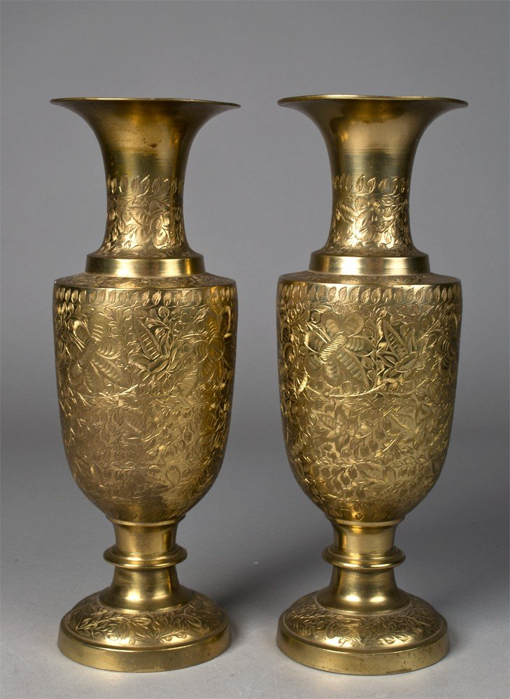 649: Pr. Of Indian Brass Etched Vases