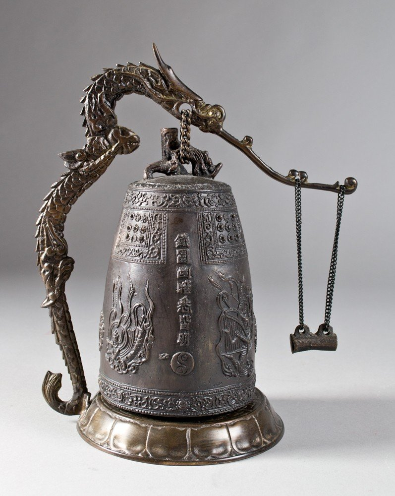 658: A Chinese Bronze Bell on Stand with Gong