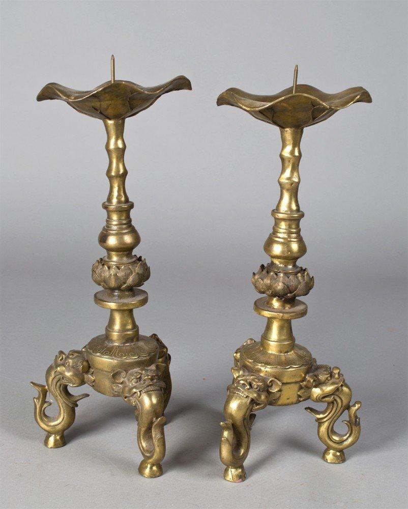 661: Pr. Of Chinese Brass Pricket Candlesticks