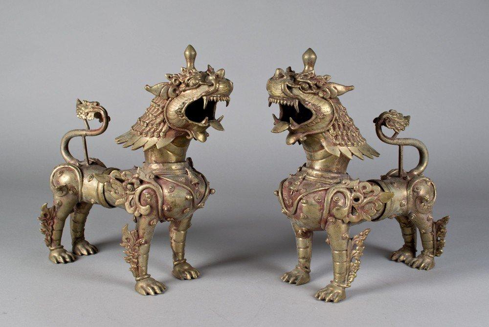 667: Pr. Of Thai Metal Foo Dogs