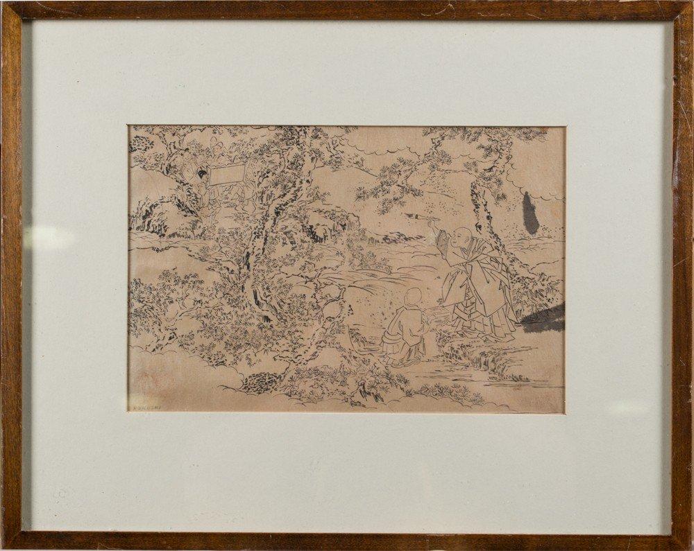 668:  Att Hokusai Japanese Ink on Paper Drawing