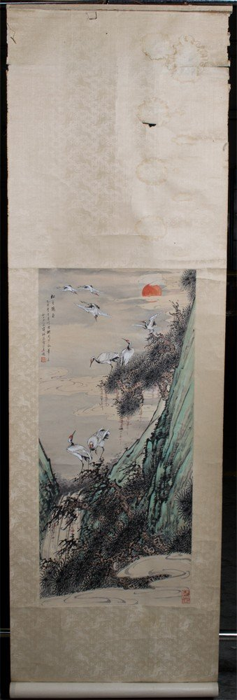 669: A Fine Japanese Scroll Painting On Silk