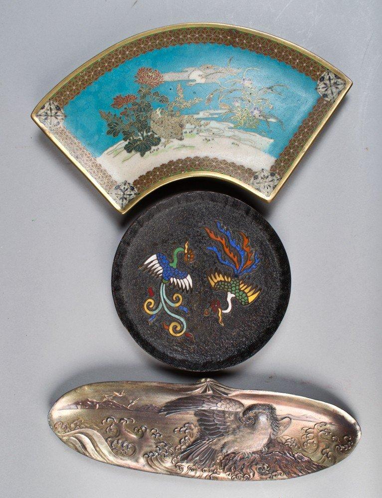 706: (3) Pcs Japanese Bronze and Enamel