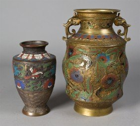 (2) Japanese Enameled Urn And Vase