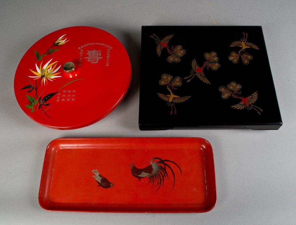 711: (3) Pcs. Japanese Lacquer Ware