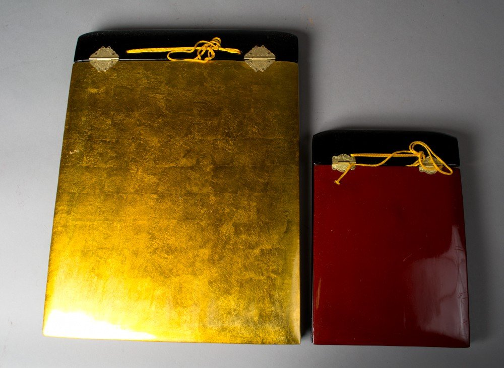 713: (2) Japanese Lacquer Covered Photo Albums