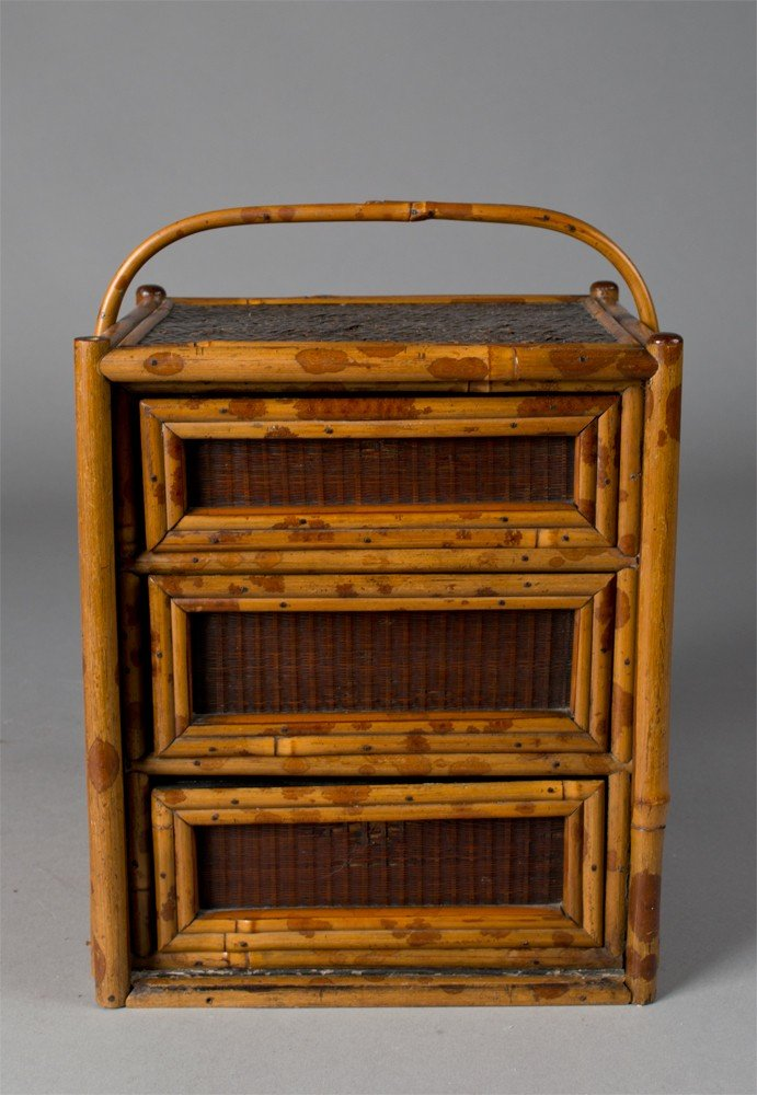 715: Japanese Three Drawer Miniature Cabinet