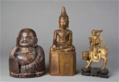 727: (3) Chinese Carved Wood Figures