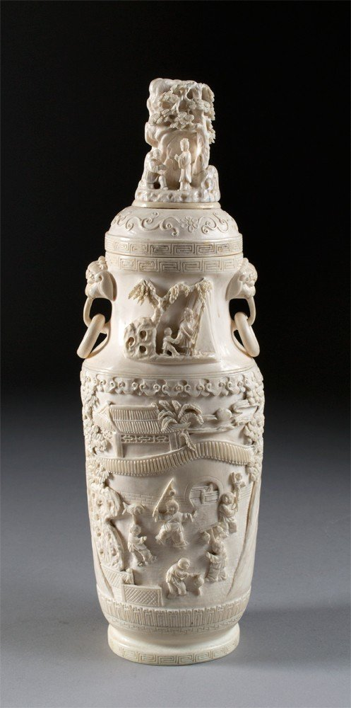 794: A Finely Carved Chinese Ivory Covered Urn
