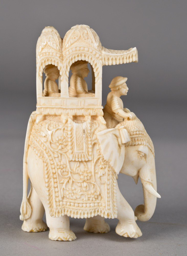 17: A Very Fine Indian Carved Ivory Elephant