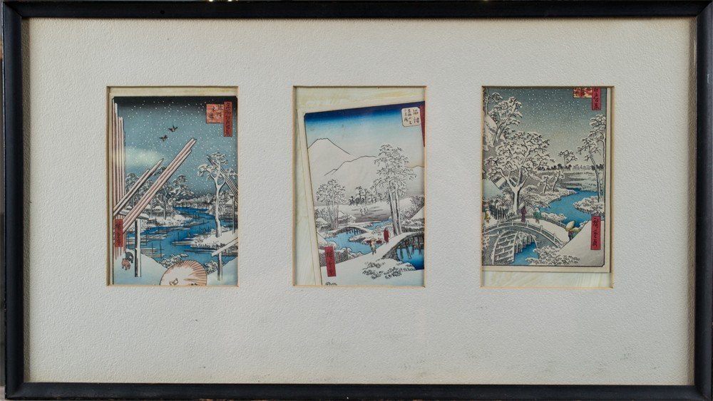 27: (3) Framed Hiroshige Woodblock Christmas Cards