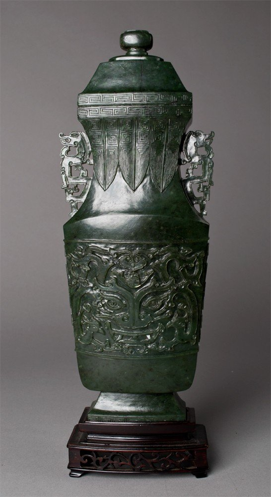 944: Chinese Carved Spinach Green Jade Vase