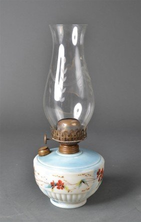 2: Antique Hand Painted Kerosene Oil Lamp