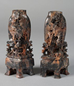 7: Pr. Of Finely Carved Chinese Soapstone Vases