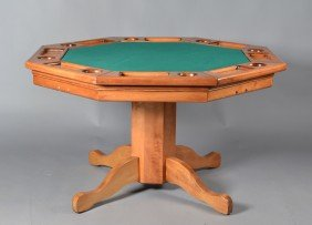 12: A Fine Octagon Wooden Games Table and Chairs