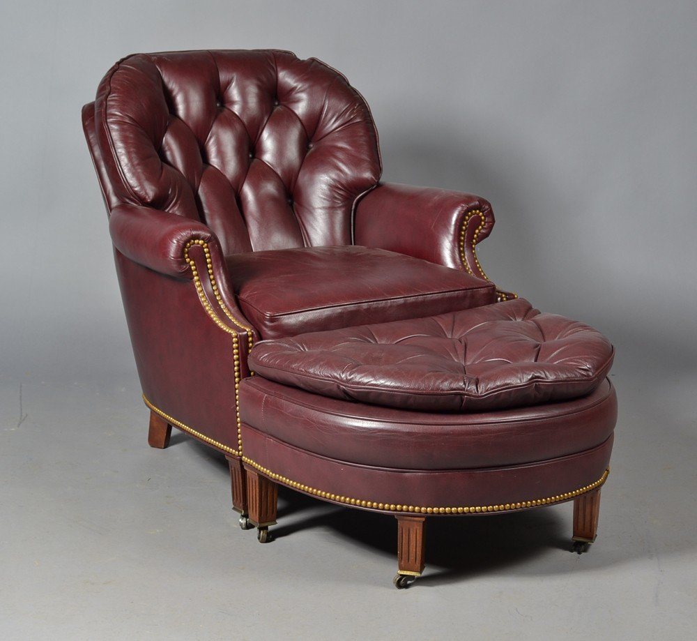 15: A Fine Hancock & Moore Leather Chair and Ottoman