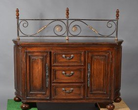 25: Wood Sideboard with Iron Rack