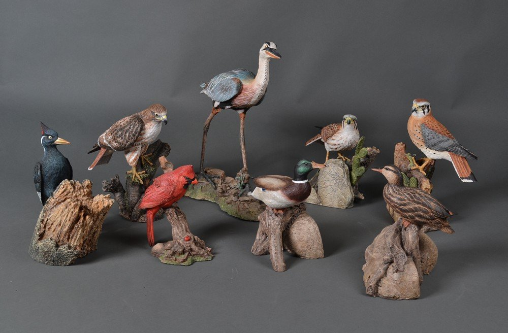 51: Group Of (8) Ma Hai Feng Bird Sculptures