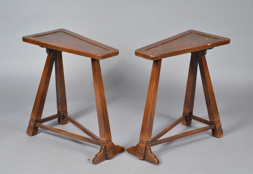 483: Pr. Triangle Form Oak Side Tables