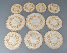 488: (10) Antique Silk Embroidered Doilies