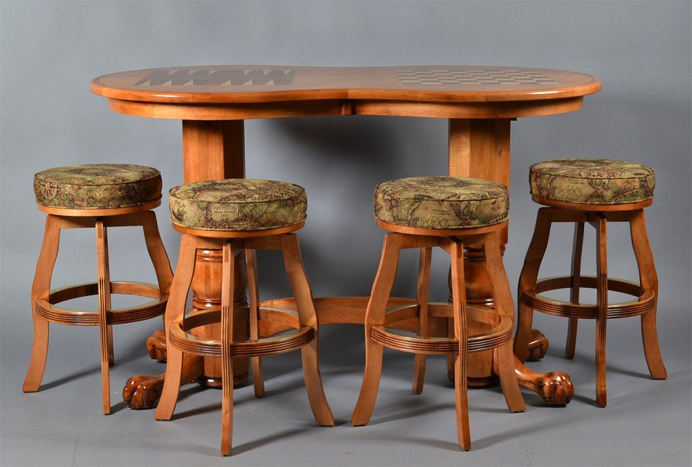 497: (5) Piece Bar Games Table and Stools