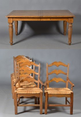 499: (7) Piece  French Country Dining Table & Chairs