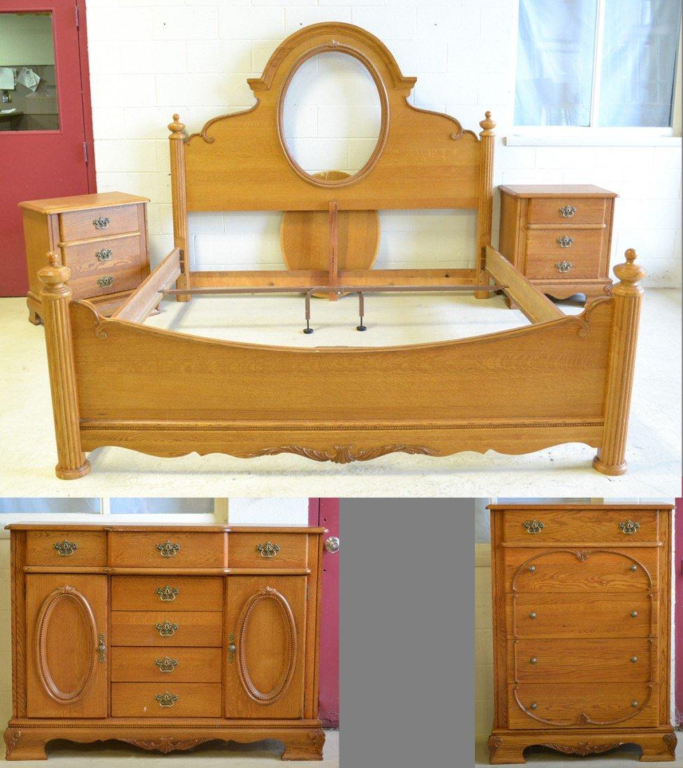 501: (5) Pc. Amish Oak Bedroom Set