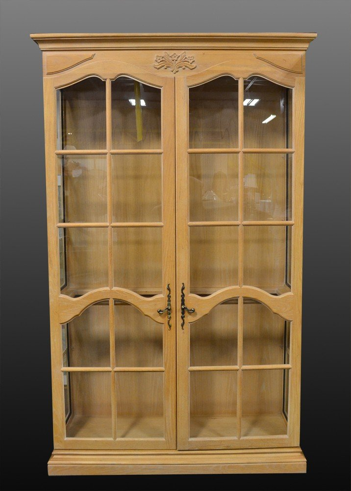 503: A Fine Country French Wood and Glass China Cabinet