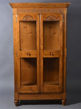 505: A Country French Pine & Iron Wire Screen Cabinet