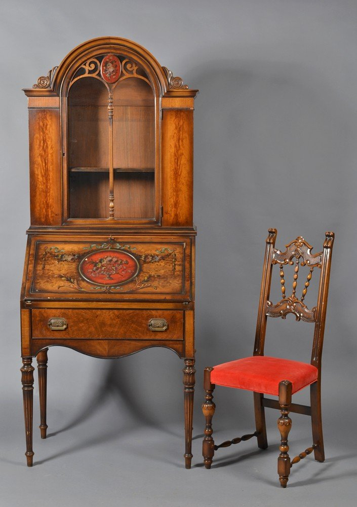 507: A Fine Antique Drop Front Secretary and Chair