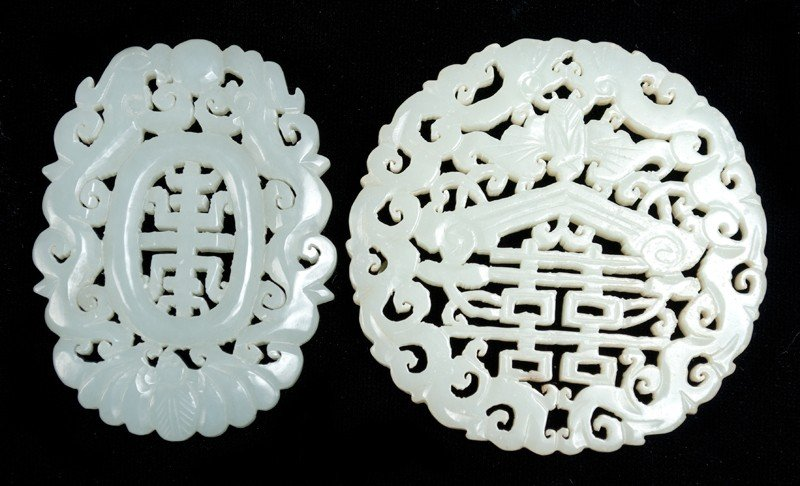 588: (2) Chinese Carved Jade Plaques