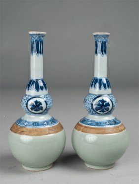 Pr. Chinese Celadon, Blue & White Porcelain Vases